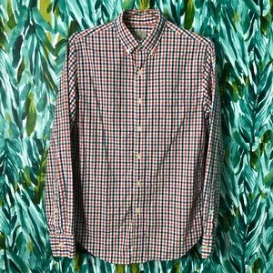 J. Crew Men's Small Gingham Button Down Shirt